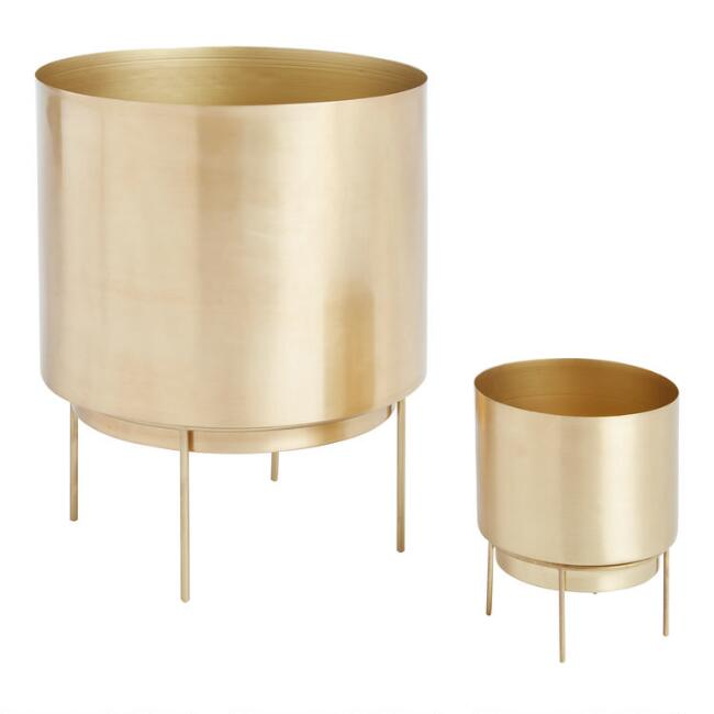 Brushed Gold Planter with Stand