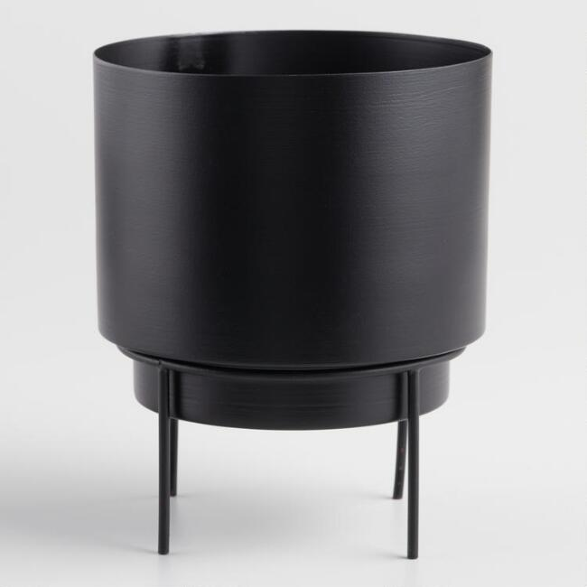Matte Black Planter with Stand