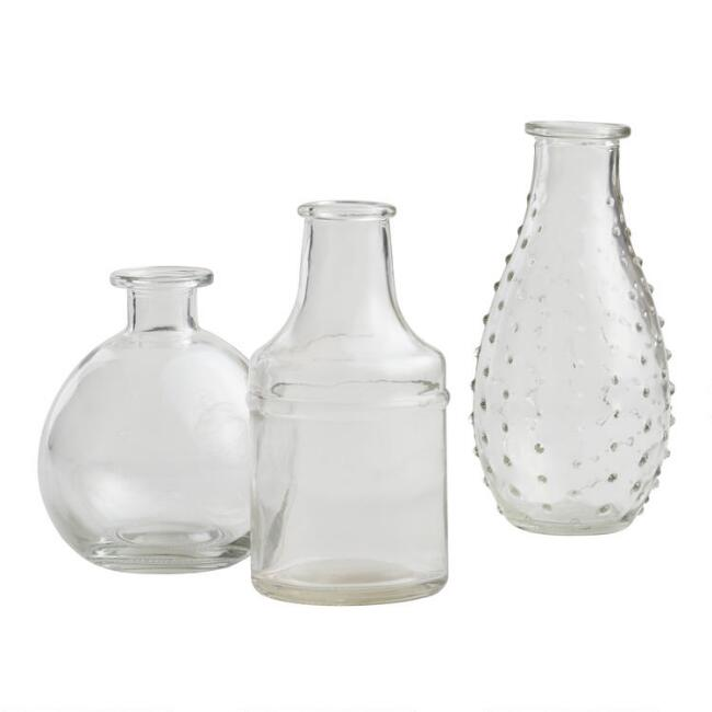 Clear Glass Bud Vases Set of 3