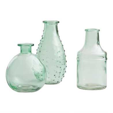 Aqua Green Glass Bud Vases Set of 3