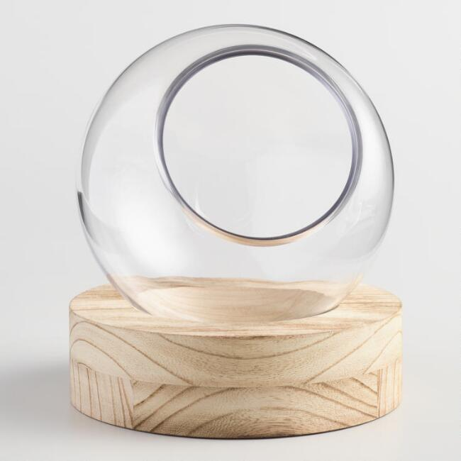 Large Glass Ball Terrarium with Wood Stand