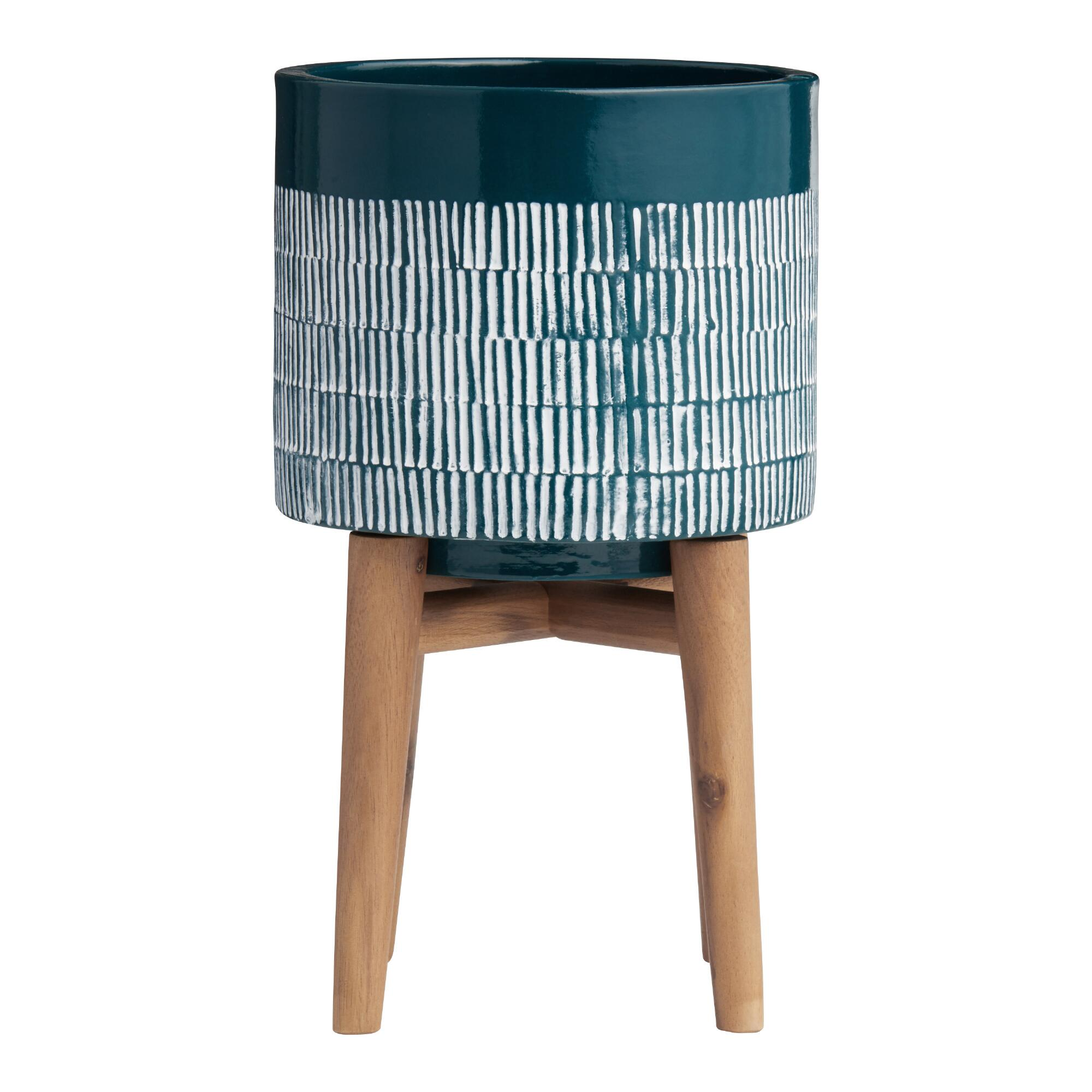 Dark Turquoise Ceramic Planter with Wood Stand: Blue by World Market