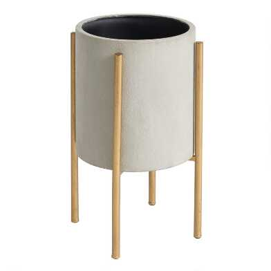 Large Gray Planter with Brass Stand