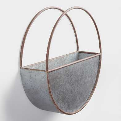 Large Oval Galvanized Metal Wall Planter