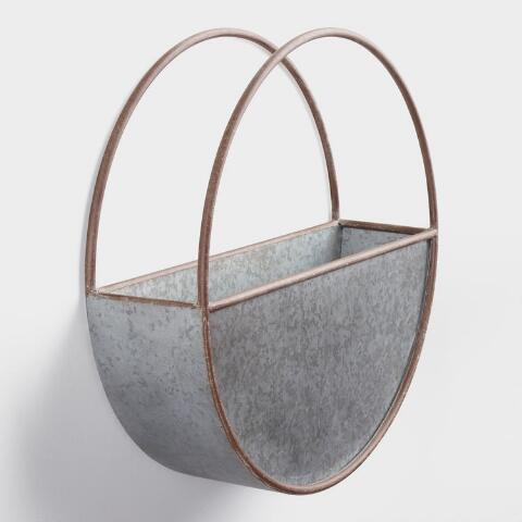 Large Oval Galvanized Metal Wall Planter Previous V4 V1