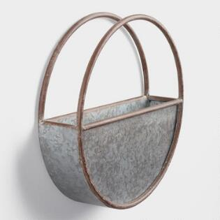 Small Oval Galvanized Metal Wall Planter