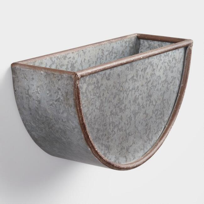 Small Half Circle Galvanized Metal Wall Planter