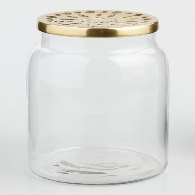 Clear Vase With Brass Lid World Market