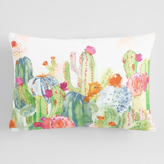 Watercolor Cactus Print Lumbar Pillow