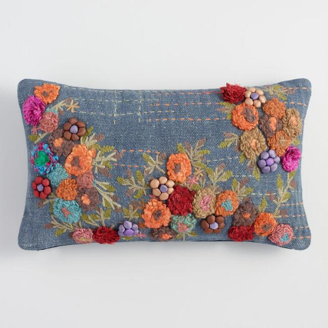 Blue Garden Floral Lumbar Pillow