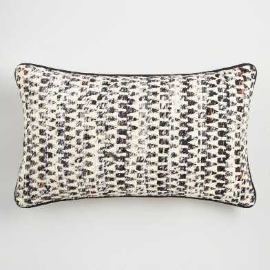 Oversized Black and Ivory Ghicha Lumbar Pillow