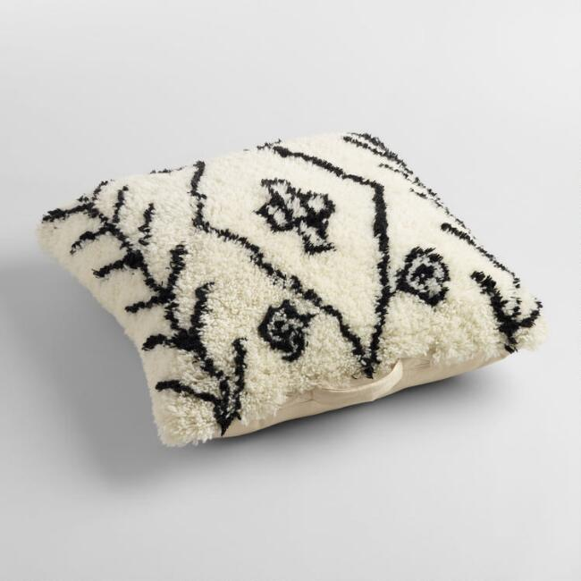 Black and White Wool Shag Floor Cushion