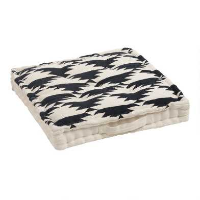 Black and White Dhurrie Weave Floor Cushion