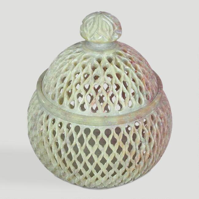 Novica Lattice Lace Soapstone Jar