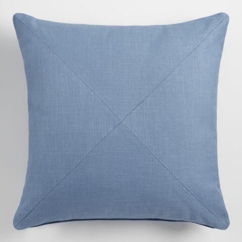 Periwinkle Blue Herringbone Cotton Throw Pillow World Market