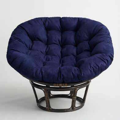 Navy Blue Microsuede Papasan Chair Cushion