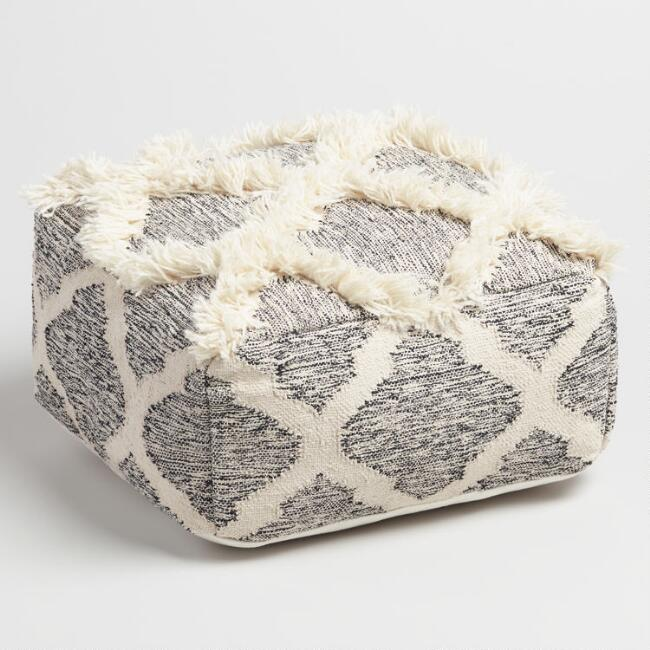 Square Black and White Diamond Shag Pouf