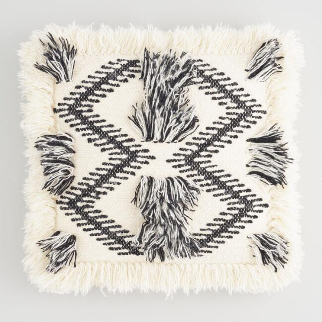 Black and White Woven Fringe Throw Pillow