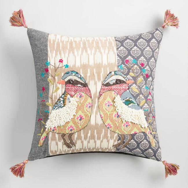 Multicolor Embroidered Patchwork Bird Throw Pillow