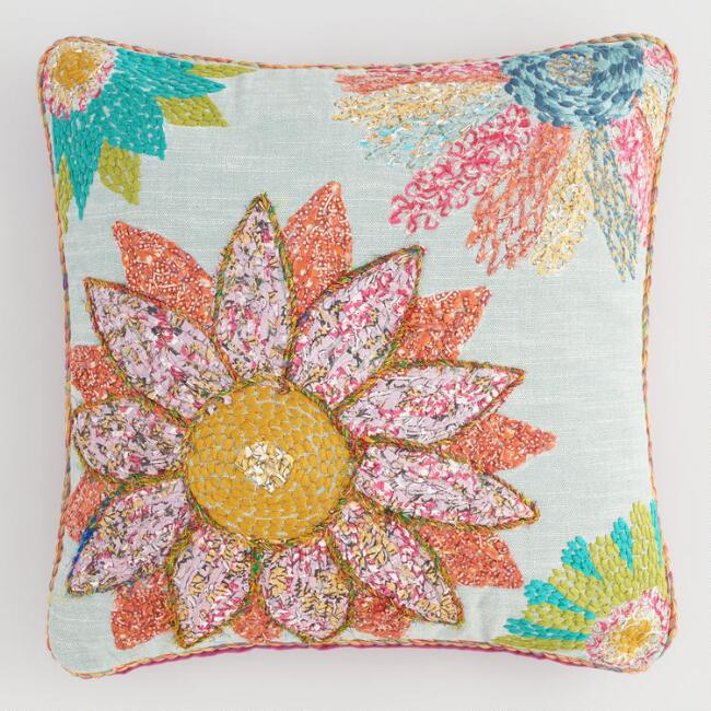 Multicolor Embroidered Patchwork Sunflower Throw Pillow
