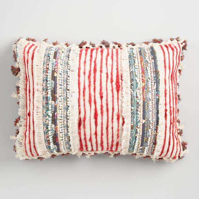 Multicolor Fringe and Tassel Lumbar Pillow