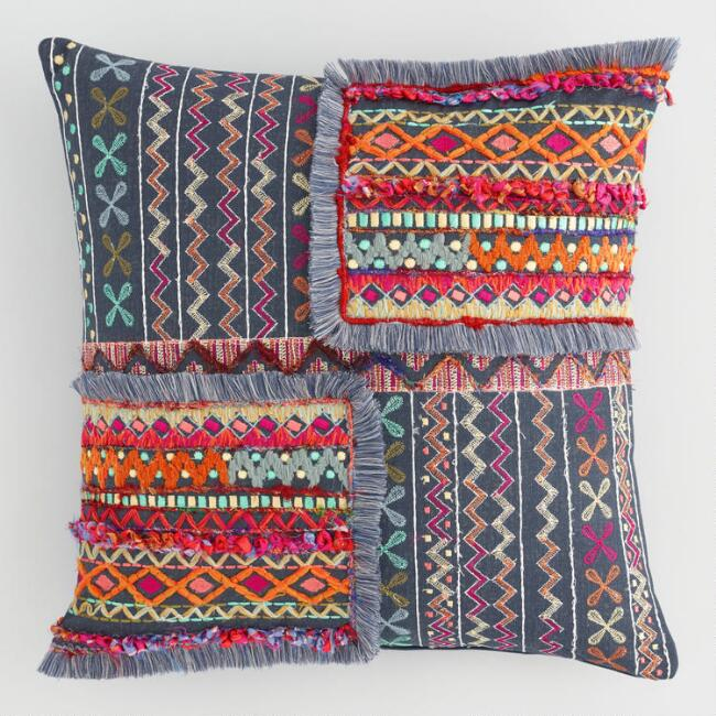 Multicolor Embroidered Patch Throw Pillow