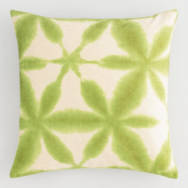 Green Chenille Abstract Watercolor Throw Pillow