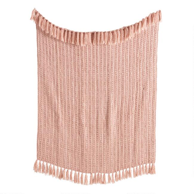 Blush Chunky Woven Throw Blanket