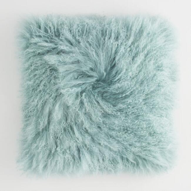 Jadeite Mongolian Lamb Fur Throw Pillow
