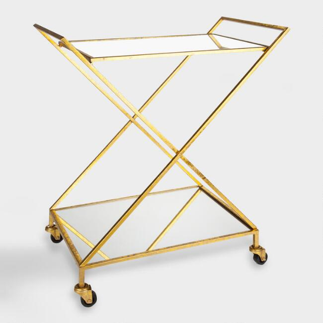 Gold Mirrored X Base Rolling Bar Cart