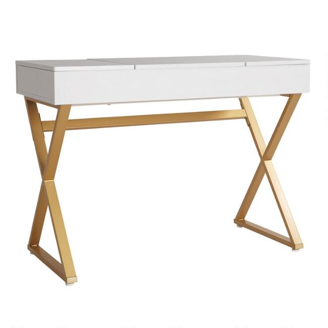 White Wood and Metal Mara Vanity Desk