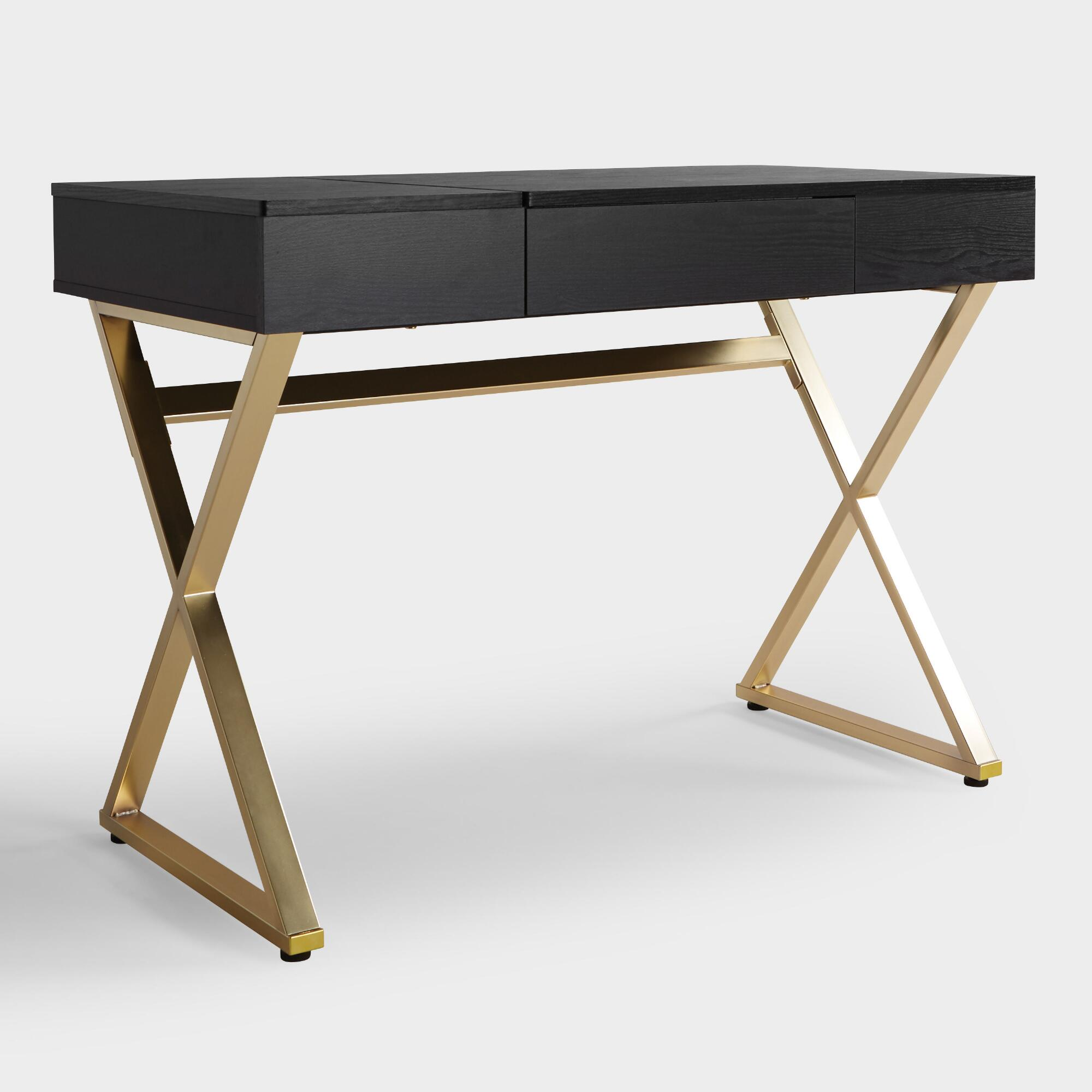 Black Wood and Metal Mara Vanity Desk