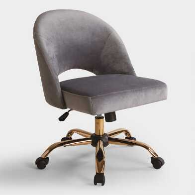 Gray Velvet Cosmo Upholstered Office Chair