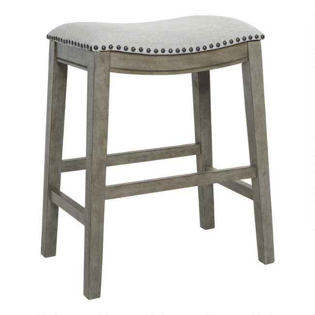 Antiqued Upholstered Jayceson Counter Stools Set Of 2