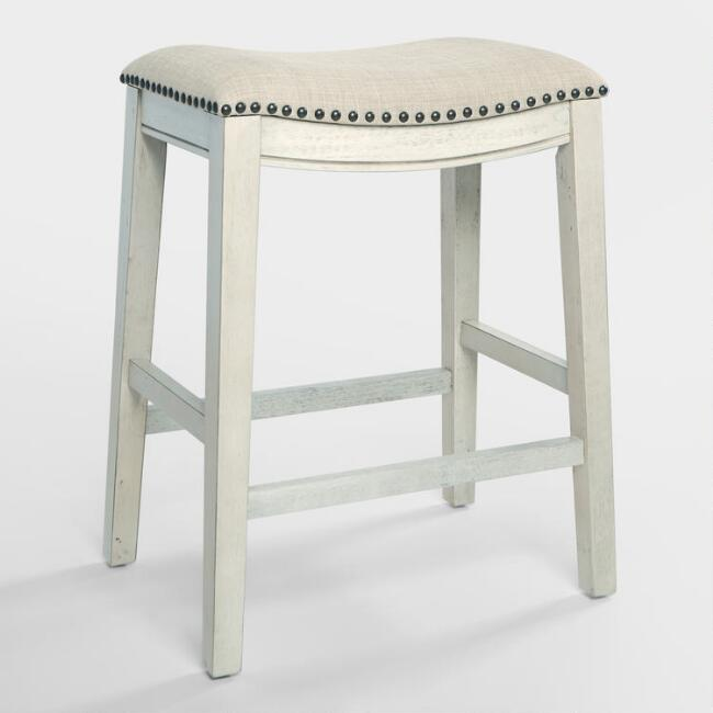 Antique White Jayceson Upholstered Counter Stools Set of 2