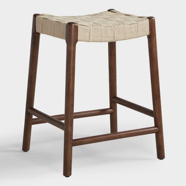 Jute and Wood Cason Counter Stool