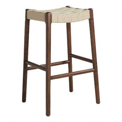 Jute and Wood Cason Barstool