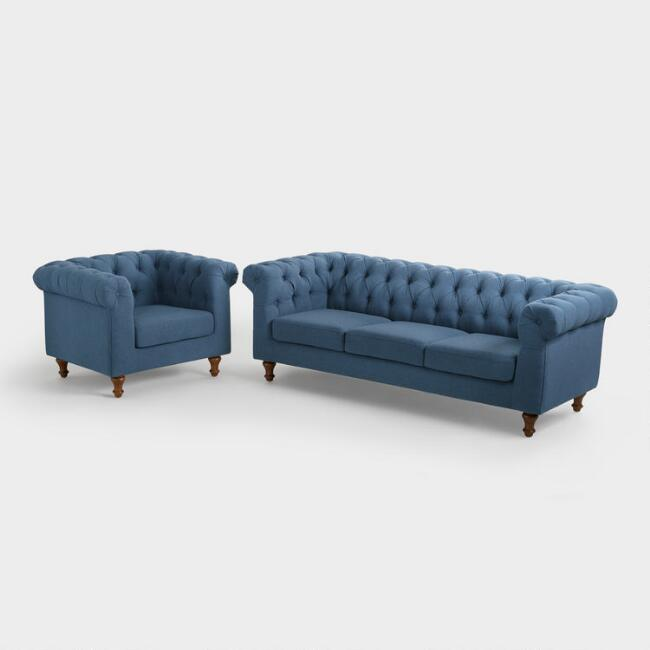denim blue quentin chesterfield seating collection world market. Black Bedroom Furniture Sets. Home Design Ideas