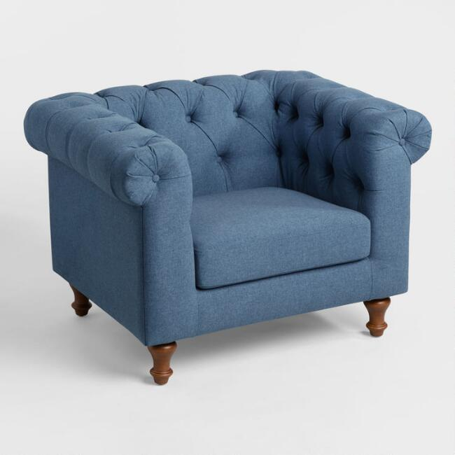 Denim Blue Quentin Chesterfield Chair