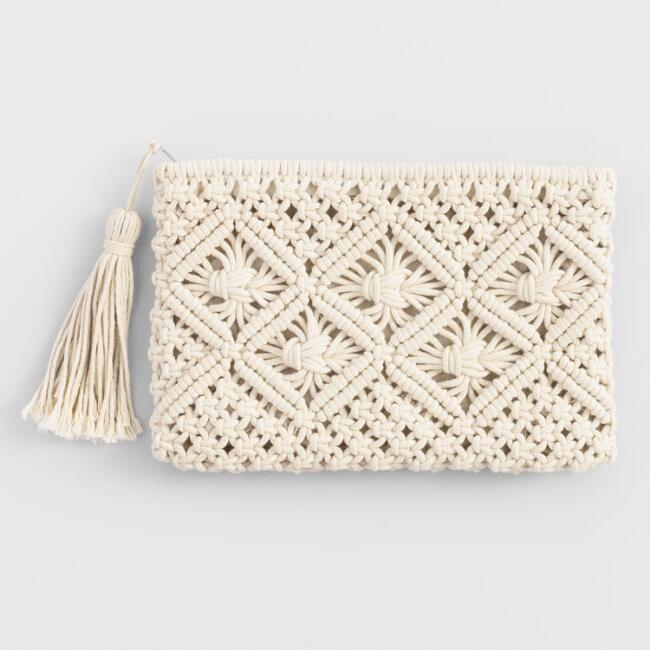 Ivory Macrame Pouch