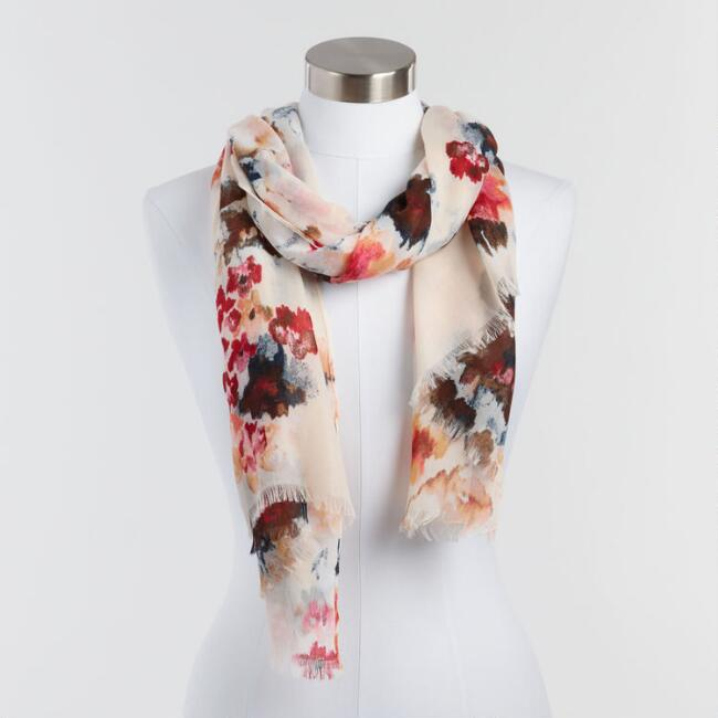 Light Watercolor Floral Scarf