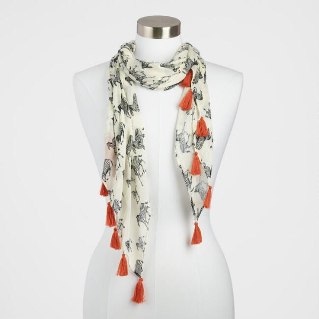 Black and White Zebra Scarf