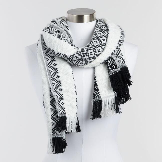 Black and White Geometric Reversible Knit Scarf