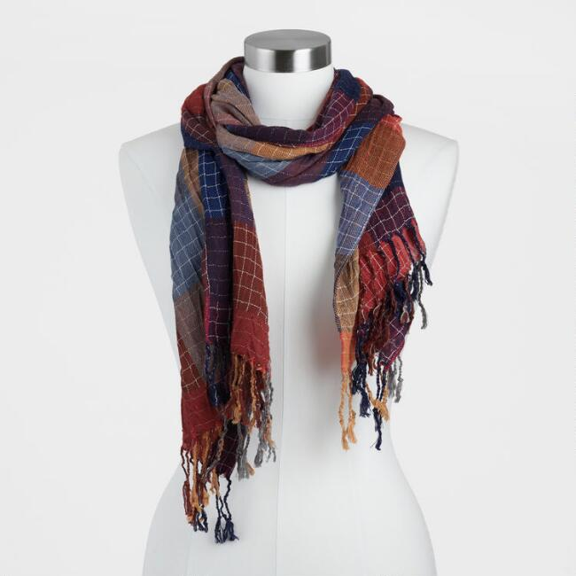 Multicolored Plaid Woven Scarf