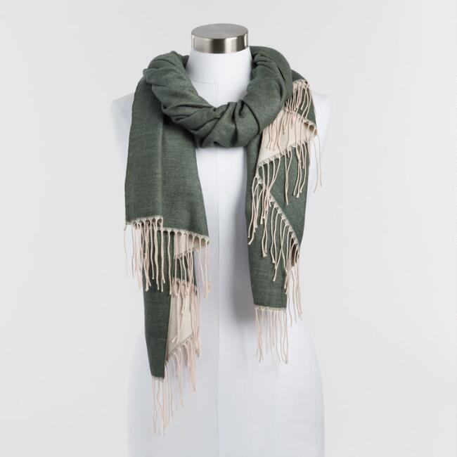 Oversized Olive and Oatmeal Reversible Scarf