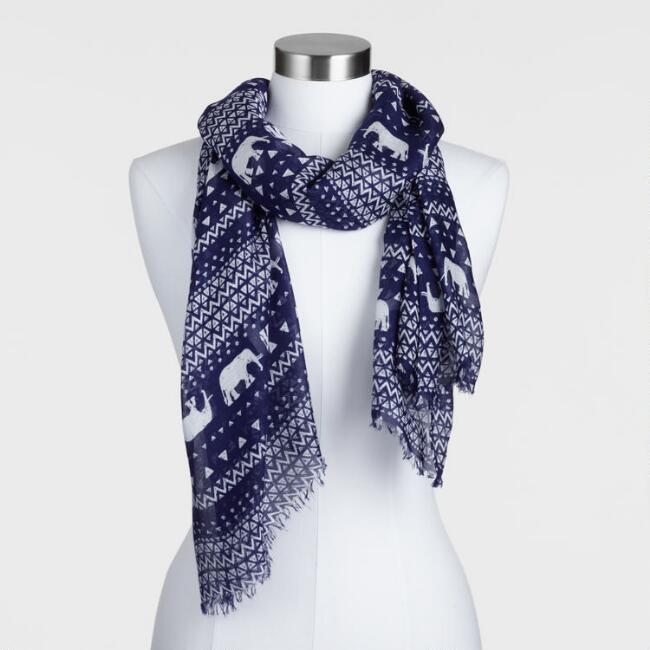 Navy and White Elephant Stripe Scarf