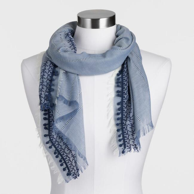 Chambray Blue Embroidered Scarf