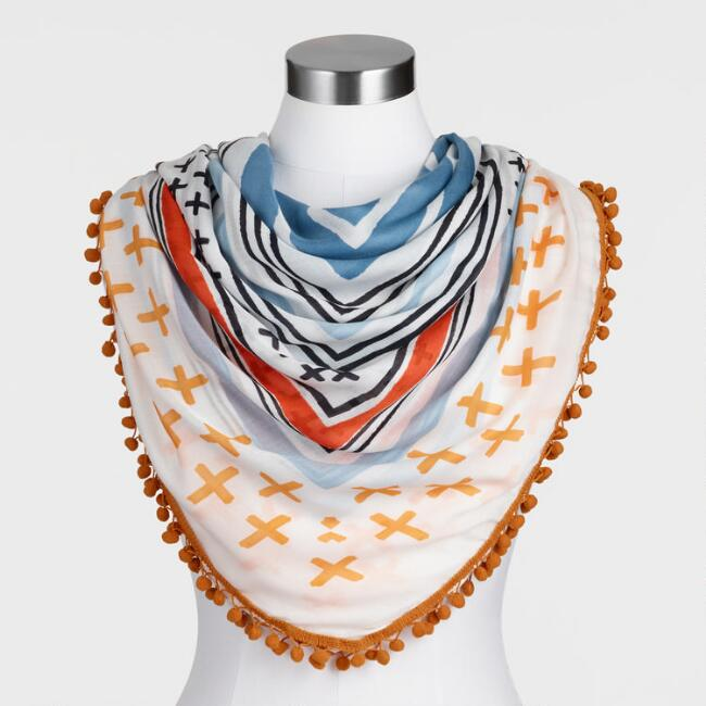 Oversized Orange and Blue Geometric Square Scarf