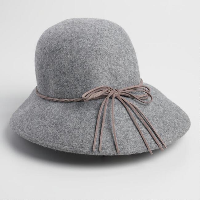 Gray Marled Wool Cloche Hat