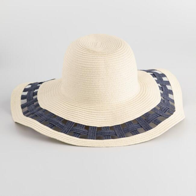 Natural Navy Straw Crossweave Sun Hat